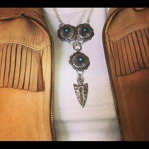 Silver concho necklace